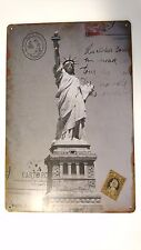 US VINTAGE RETRO SIGN STATUE OF LIBERTY - PLAQUE IN METAL NYC LIBERTY ISLAND