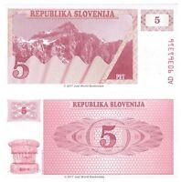 Slovenia 5 Tolarjev 1990 P-3 Banknotes UNC