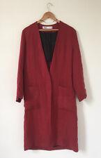 Zara Women Coat Size Medium Red Linen Long Line Pockets Wrap