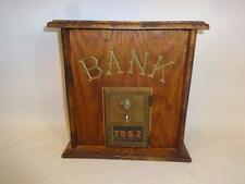 VINTAGE US POST OFFICE POSTAL BRASS COMBINATION BOX IN WOODEN CASE BANK