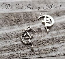 6 Fairy Charms Moon Pendants Antiqued Silver Fairy Tale Charms Celestial