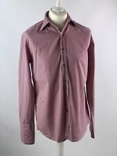 PAUL SMITH CUFFED SHIRT, SIZE M-L BURGUNDY/RED AND WHITE CHECKED COLLAR 16/41