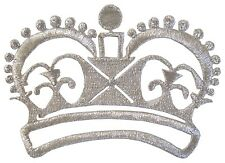 """2401S 3 1/4"""" Silver Royal Crown Embroidery Iron On Applique Patch"""