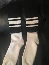 3 Pair Football Socks Large Black Tops White Bottom