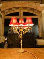 Brass 5 Light Candleabra, Rococo Style Table Lamp