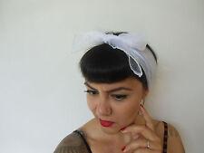Foulard cheveux fin tulle mousseline transparente blanche carré coiffure pinup