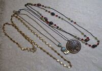 VINTAGE TO NOW ASSORTED LONG BRONZE TONE CHAIN PENDANT NECKLACE LOT