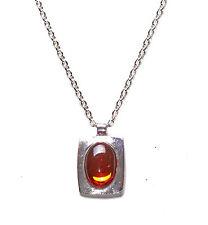 Ladies Bold Silver Chain & Orange  Gem Stone Pendant Necklace Unique (Zx59)