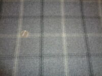 Half Meter x 135cm ISLES LEWIS WOOL TOUCH TARTAN Grey Cream Check FABRIC