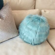 """StyleWise Ball 'Personality Pillow' Luxury Faux Fur, 12"""" dia Down Insert, Zipper"""