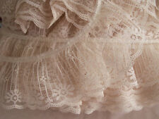 Beige Ruffled Lace Trim, 3 YARDS, Candlewick Lace