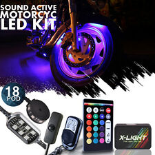 18pc Motorcycle LED Light Kit ¦ All-Color Custom Accent Pods¦ Brake Turn Signal
