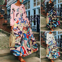 UK Womens Long Sleeve Casual Loose Vintage Butterfly Printed Cocktai Party Dress