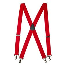 New MTL Men's Elastic X-Back Suspenders with Swivel Hook Ends, USA Made, Red