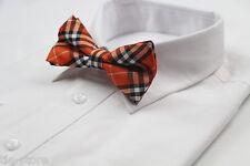 MENS PLAID ORANGE BLACK WHITE BOW TIE Pretied Wedding Formal Patterned CHEAP