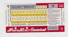 1984 Sport Select Rare Baseball Scratch Lottery Gambling Federal Canada Ticket