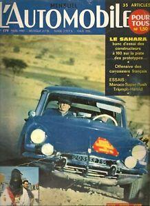 L'AUTOMOBILE 179 1961 TRIUMPH HERALD SALOON, SIMCA ARONDE P60 MONACO, FIAT GP