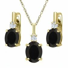 Striking Black and Aqua Necklace Set Black Onyx with Swiss Blue Quartz Necklace and Earrings with MOP and 14K Gold Fill Gift For Her.