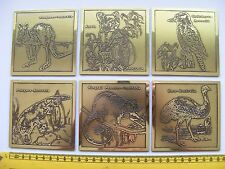 AUSTRALIAN METAL DRINKS COASTERS X 6 STEPHEN DALY MELBOURNE