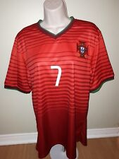 Ronaldo #7 jersey shirt red satin crests size (XL) international soccer