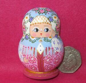 Matryoshka Fridge Magnet Blue Pink Russian doll HAND PAINTED Traditional MITINA