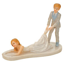 WEDDING CAKE TOPPER DECORATION BRIDE & AND GROOM DRAGGING