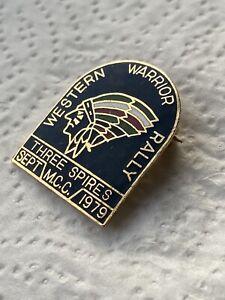 THREE SPIRES M.C.C. MCC WESTERN WARRIOR RALLY SEPT 1979 MOTORCYCLE PIN BADGE