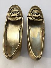 COACH Gold Leather Corena Slip On Shoes Womens Size 5