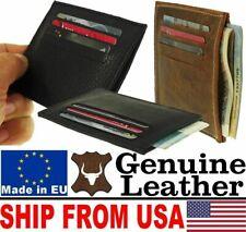 # Genuine Leather Slim Wallet Case Billfold For ID Credit Debit ATM Cards Money
