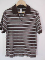 Patagonia Mens Polo Shirt Size XS Brown Striped Short Sleeve Organic Cotton Top