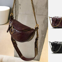 Small Mini Faux Leather Ring Shoulder Bag Crossbody Sling Purse Chain Chest Pack