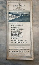1917 Train Time Table The Harmony Route, Pittsburgh, Butler New Castle