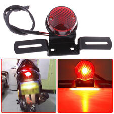 12V Round Red Motorcycle LED Brake Tail Light For Bobber Chopper Cafe Racer ATVS