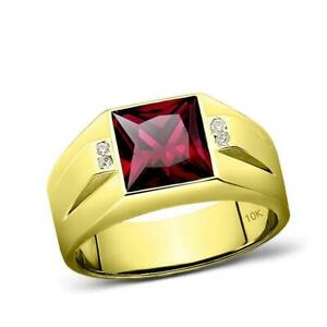 10K Real Yellow Fine Gold Red Ruby Ring For Men with 4 Natural Diamond Accents