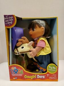 "2002 Fisher Price Talking Dora the Explorer Cowgirl w/Stick Horse 12"" Doll New"