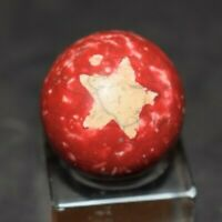 "Rare Antique 1800's Akron Ohio Fired Dyed Clay Star Marble size .812=13/16"" MINT"