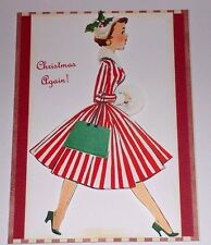 Handmade Greeting Card 3D Christmas Vintage Style With A Lady In A Striped Dress