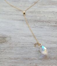 14k Yellow Gold Filled Y Necklace swarovski crystal pendant drop shape