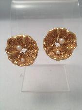 Vintage Trifari Signed  faux pearl earrings. Natural organic sculptural  shapes
