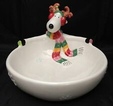 Fitz and Floyd Snowflake & Jake Candy Dish Bowl Reindeer Christmas Holiday
