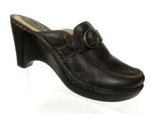 Born Womens Mule Loafer Clog Shoe Sz 8 M Brown Leather Slip On High Wedge Heel