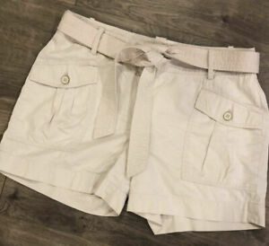 Talbots Womens Shorts Size 8 Khaki Pockets Belted Casual