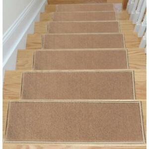 Ottomanson Dark Beige 8.5 in.x26.5 in. Non-Slip Stair Tread Cover (Set of 7)