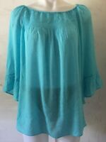 ZAC & RACHEL Women's Top Blouse 3/4 Sleeve Light Blue Size XL