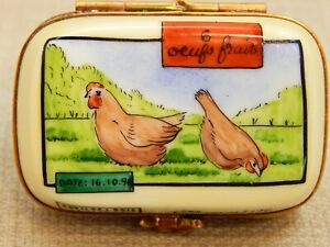 Rochard LIMOGES France Porcelain Hinged Trinket Box,Carton of Eggs with Chickens