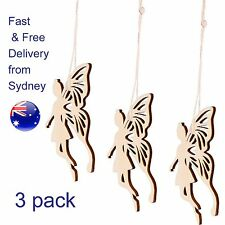 Wooden Fairy Decoration 3-pack- natural magic Fairy wood ornament with string