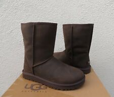 UGG CLASSIC SHORT BROWNSTONE WATERPROOF LEATHER/ SHEEPSKIN BOOTS, US 7/ 38 ~NIB