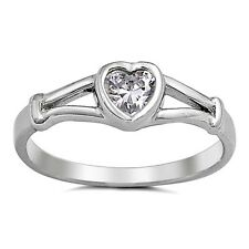 .925 Sterling Silver Ring size 3 Kids Midi Heart Baby Ladies Knuckle Toe New j08