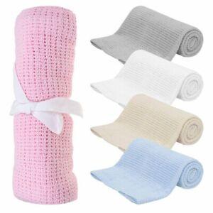 100% Cotton Cellular Soft Baby Infant Blanket for Cot Pram Moses Basket 80x110cm