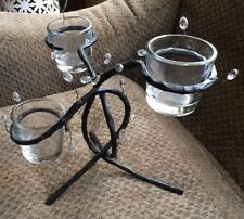 """Beautiful Candle Holder Candelabra Wrought Iron Multi Arm w/Glass Cups 11"""" x 9"""""""